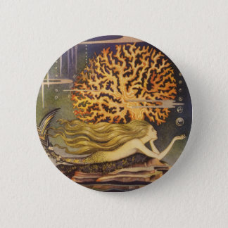 Vintage Fairy Tale, Little Mermaid in Ocean Coral Pinback Button