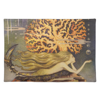 Vintage Fairy Tale, Little Mermaid in Ocean Coral Cloth Place Mat