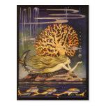 Vintage Fairy Tale, Little Mermaid in Ocean Coral Post Cards