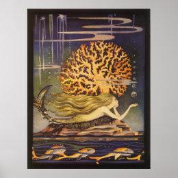 Vintage Fairy Tale, Little Mermaid in Ocean Coral Poster
