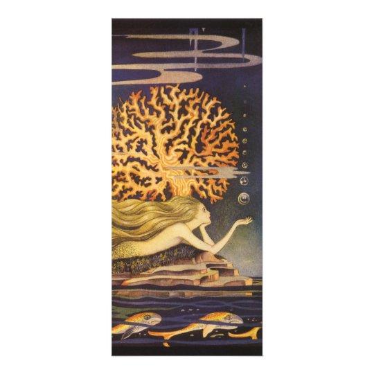 Vintage Fairy Tale, Little Mermaid in Ocean Coral Rack Card