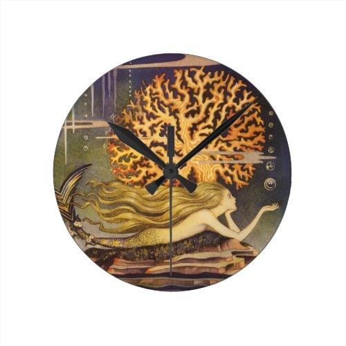 Vintage Fairy Tale, Little Mermaid in Ocean Coral Round Clock