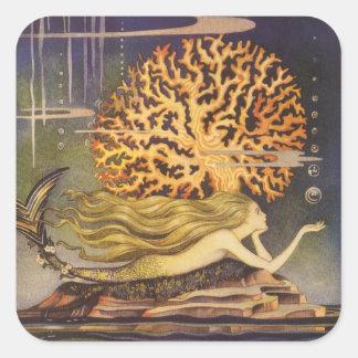 Vintage Fairy Tale, Little Mermaid in Ocean Coral Square Sticker