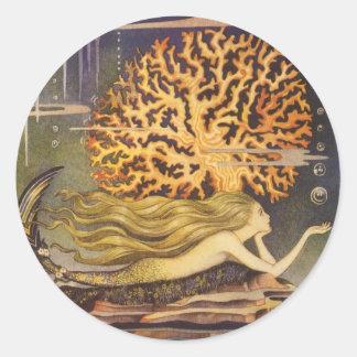 Vintage Fairy Tale, Little Mermaid in Ocean Coral Stickers