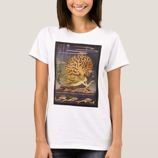 Vintage Fairy Tale, Little Mermaid in Ocean Coral T-Shirt
