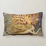 Vintage Fairy Tale, Little Mermaid in Ocean Coral Throw Pillow