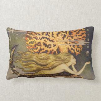 Vintage Fairy Tale, Little Mermaid in Ocean Coral Throw Pillows