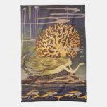Vintage Fairy Tale, Little Mermaid in Ocean Coral Towels
