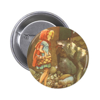 Vintage Fairy Tale, Little Red Riding Hood 2 Inch Round Button