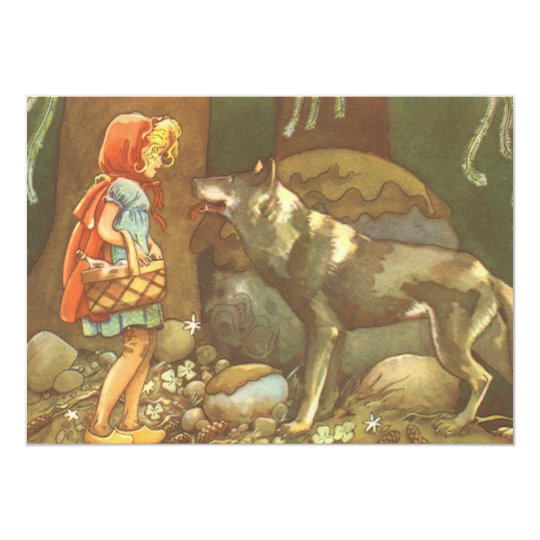 Vintage Fairy Tale, Little Red Riding Hood Card