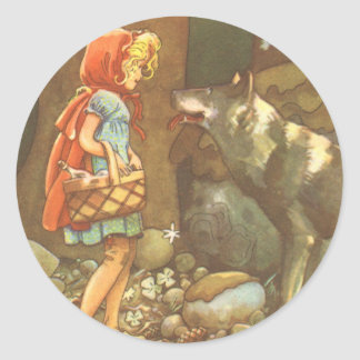 Vintage Fairy Tale, Little Red Riding Hood Classic Round Sticker