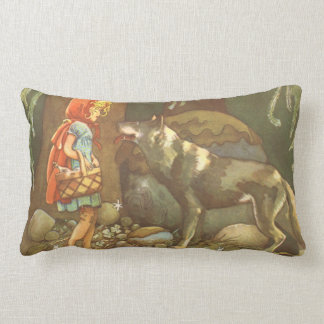 Vintage Fairy Tale, Little Red Riding Hood Throw Pillows