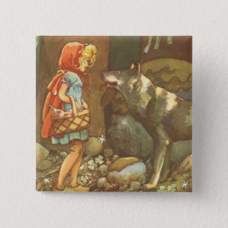 Vintage Fairy Tale, Little Red Riding Hood Pinback Button