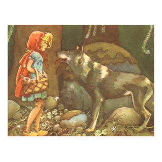 Vintage Fairy Tale, Little Red Riding Hood Postcard
