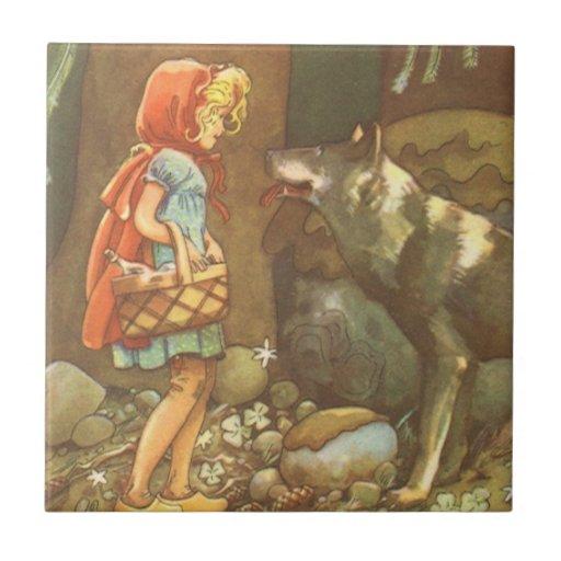 Vintage Fairy Tale, Little Red Riding Hood Ceramic Tile