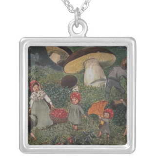 Vintage Fairy Tale Magical Elves Silver Plated Necklace