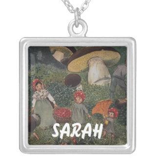 Vintage Fairy Tale Magical Elves Square Pendant Necklace