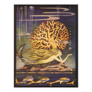 Vintage Fairy Tale, Mermaid in Coral Invitation