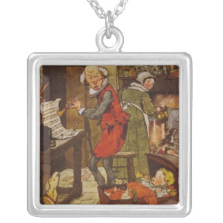 Vintage Fairy Tale Musical Baby Square Pendant Necklace