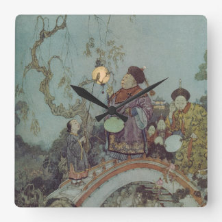 Vintage Fairy Tale, Nightingale by Edmund Dulac Square Wall Clock