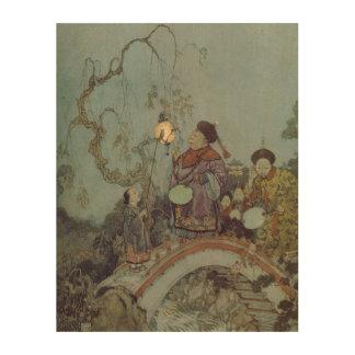 Vintage Fairy Tale, Nightingale by Edmund Dulac Wood Print
