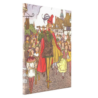 Vintage Fairy Tale Pied Piper of Hamelin by Hauman Canvas Print
