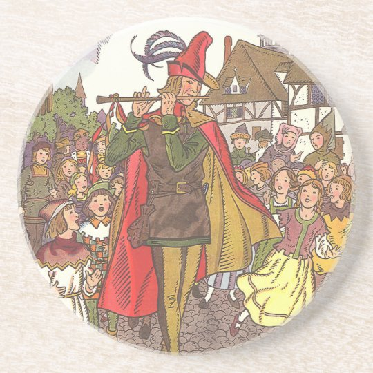 Vintage Fairy Tale Pied Piper of Hamelin by Hauman Drink Coaster
