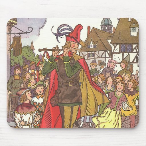 Vintage Fairy Tale Pied Piper of Hamelin by Hauman Mousepads