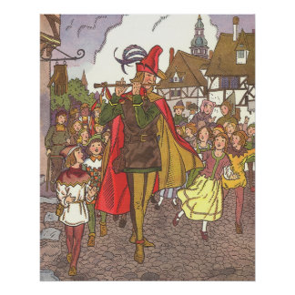 Vintage Fairy Tale Pied Piper of Hamelin by Hauman Poster