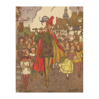 Vintage Fairy Tale Pied Piper of Hamelin by Hauman Wood Print