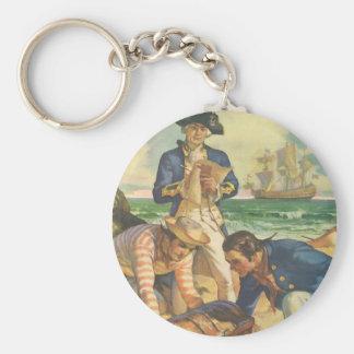 Vintage Fairy Tale Pirates, Treasure Island Basic Round Button Keychain