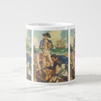 Vintage Fairy Tale Pirates, Treasure Island Large Coffee Mug