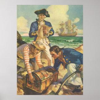 Vintage Fairy Tale Pirates, Treasure Island Print