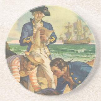 Vintage Fairy Tale Pirates, Treasure Island Sandstone Coaster