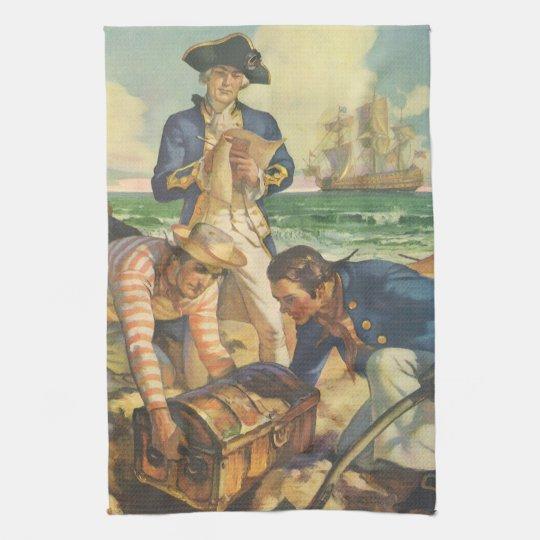 Vintage Fairy Tale Pirates, Treasure Island Towel