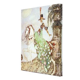 Vintage Fairy Tale Princess Riding a White Horse Canvas Print