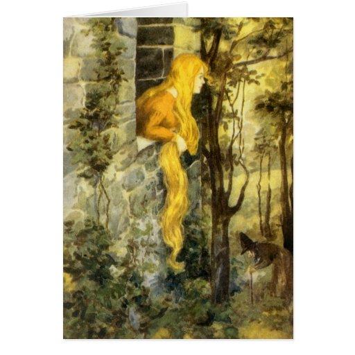 Vintage Fairy Tale, Rapunzel with Long Blonde Hair Card