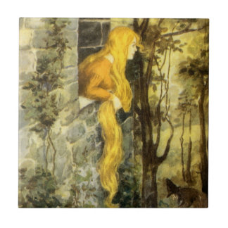 Vintage Fairy Tale, Rapunzel with Long Blonde Hair Ceramic Tile