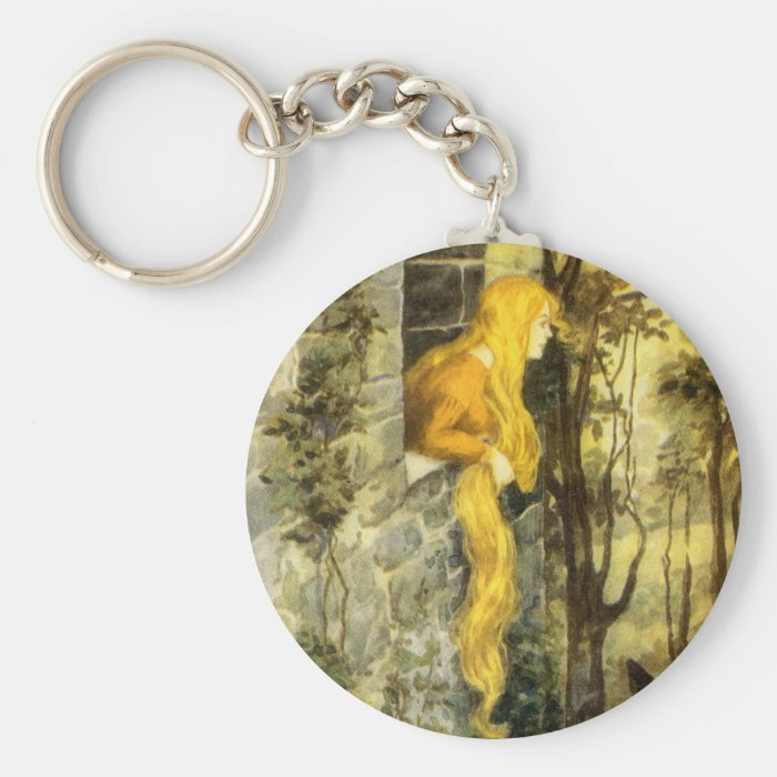 Vintage Fairy Tale, Rapunzel with Long Blonde Hair Keychain