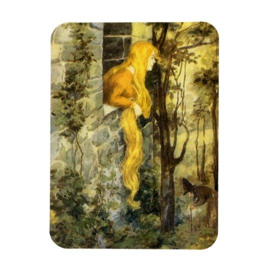 Vintage Fairy Tale, Rapunzel with Long Blonde Hair Magnet