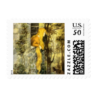 Vintage Fairy Tale, Rapunzel with Long Blonde Hair Postage