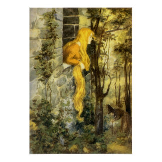 Vintage Fairy Tale, Rapunzel with Long Blonde Hair Posters
