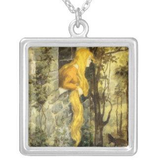 Vintage Fairy Tale, Rapunzel with Long Blonde Hair Square Pendant Necklace