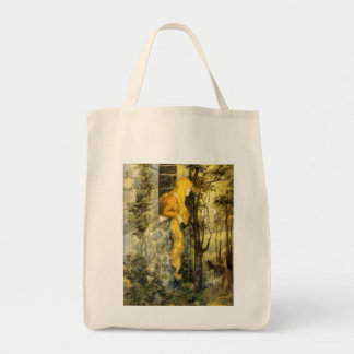 Vintage Fairy Tale, Rapunzel with Long Blonde Hair Tote Bag