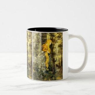Vintage Fairy Tale, Rapunzel with Long Blonde Hair Two-Tone Coffee Mug