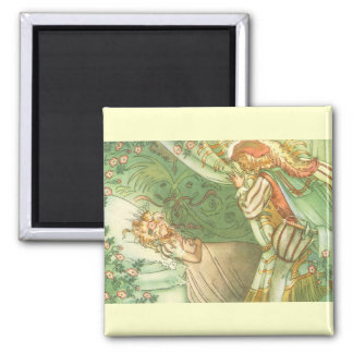 Vintage Fairy Tale, Sleeping Beauty Princess 2 Inch Square Magnet