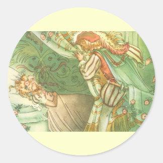Vintage Fairy Tale, Sleeping Beauty Princess Classic Round Sticker