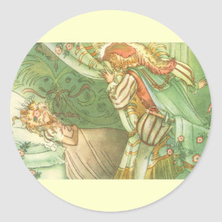 Vintage Fairy Tale, Sleeping Beauty Princess Classic Round Sticker