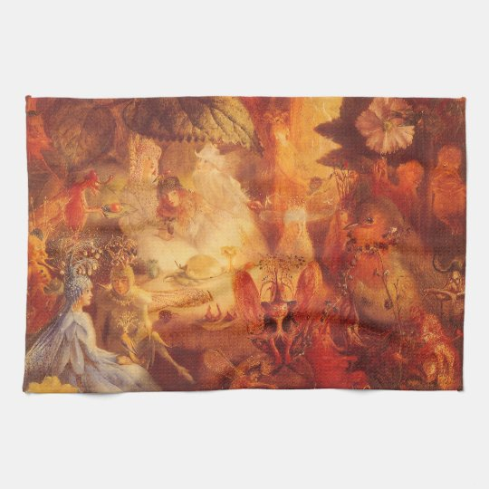 Vintage Fairy Tale The Captive Robin by Fitzgerald Kitchen Towel