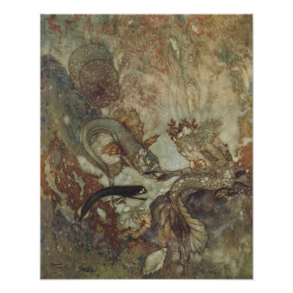Vintage Fairy Tale, The Mermaid by Edmund Dulac Poster